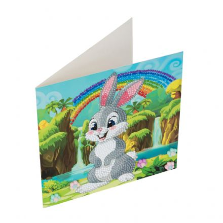 Crystal Art D.I.Y  card kit RABBIT WONDERLAND